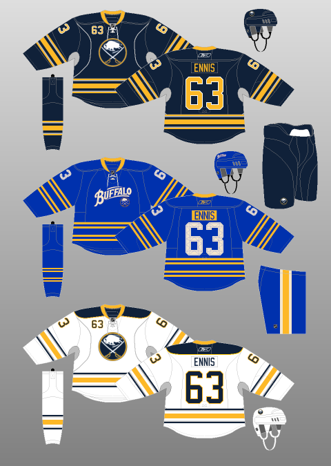 Buffalo Sabres (3rd jersey in the middle)